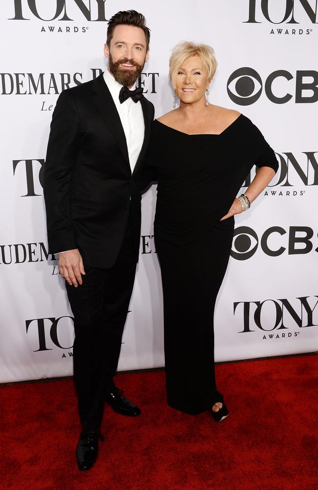 Hugh Jackman and Deborra-Lee Furness pose on the red carpet in New York.