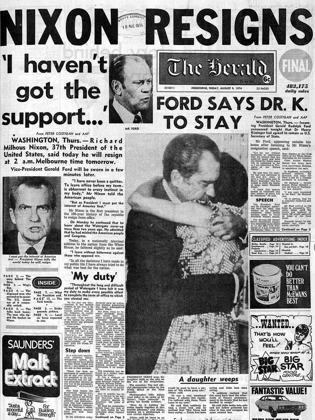 How melbourne s the herald newspaper reported the downfall of richard nixon after the watergate scandal in