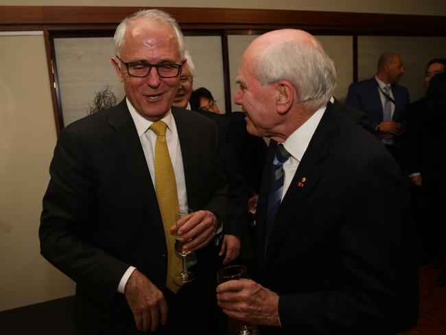 Australian Prime Ministers Malcolm Turnbull and John Howard. Picture Gary Ramage