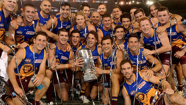 Brisbane Lions celebrate after winning the NAB Cup. Picture: Wayne Ludbey