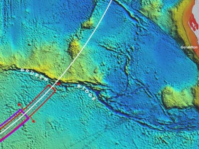 The new MH370 search area is indicated in purple, the red area has been searched. Picture: Supplied