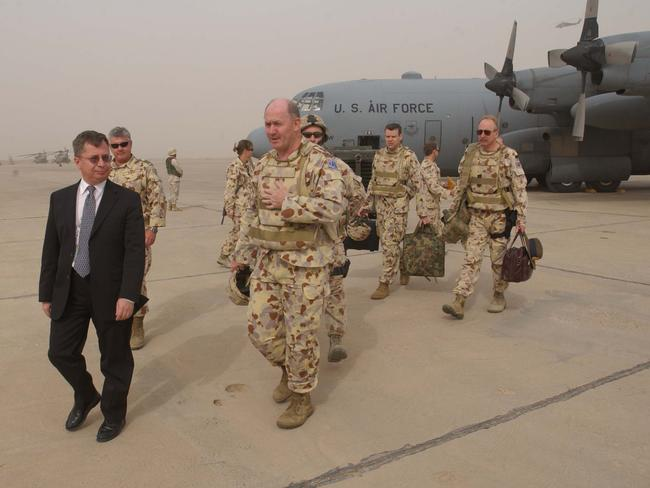 Ex-Chief Of Defence, General Peter Cosgrove pictured arriving in Baghdad meeting former Head of Mission Australian Representative Office Mr Neil Mules, now Australia's ambassador to The Netherlands.
