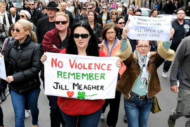 Jill Meagher's tribute march down Sydney Rd in Brunswick. Picture: Jon Hargest