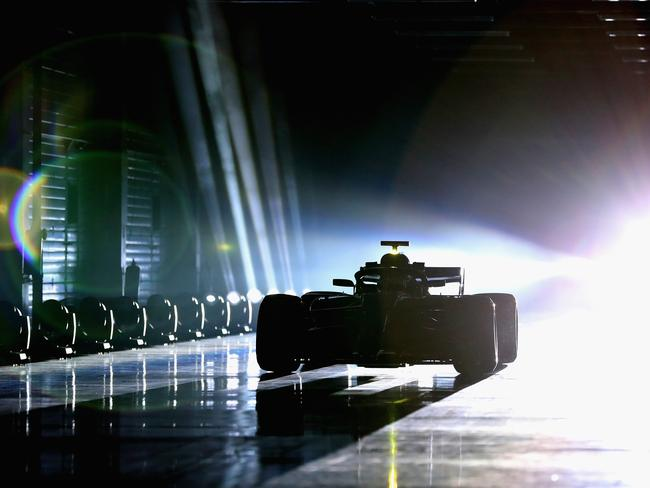 Valtteri Bottas is seen driving the Mercedes W09 during the launch.