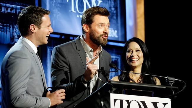 Broadway darling ... Hugh Jackman makes a surprise appearance as actors Jonathan Groff and Lucy Liu announce the 2014 Tony Awards Nominations in New York. Picture: AP