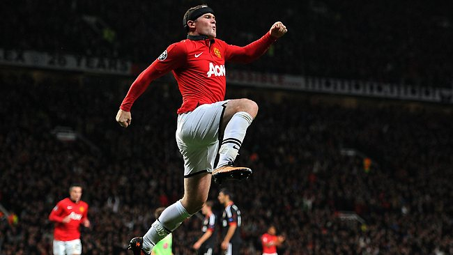 Manchester United's Wayne Rooney celebrates scoring his second goal of the game.