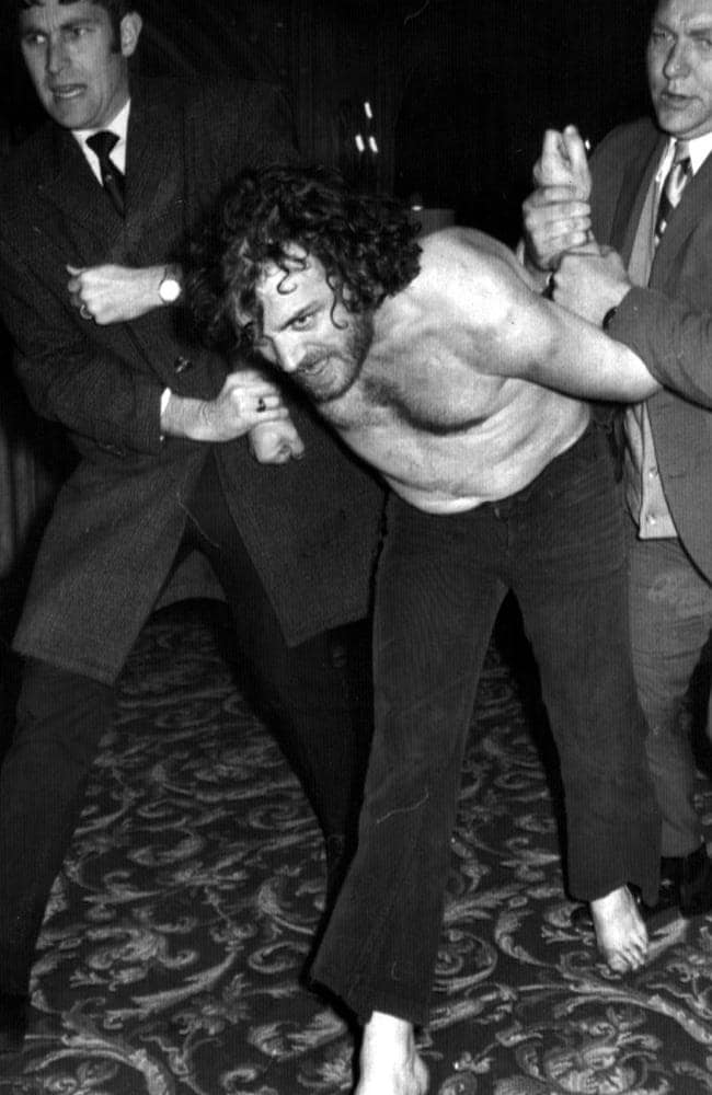 Mad Dog ... English singer Joe Cocker is arrested in Melbourne 19 Oct. 1972 after becoming involved in a drunken brawl with police and security staff at his hotel. Picture: Supplied.