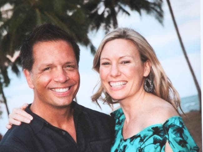 Another photo of Australian woman Justine Damond with her fiance Don from a memorial being held for her. Picture: Nathan Edwards