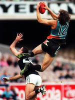 Iconic shot of Matthew Richardson using Nigel Lappin as his stepladder during the Allies' State of Origin match against Victoria. Picture: News Limited