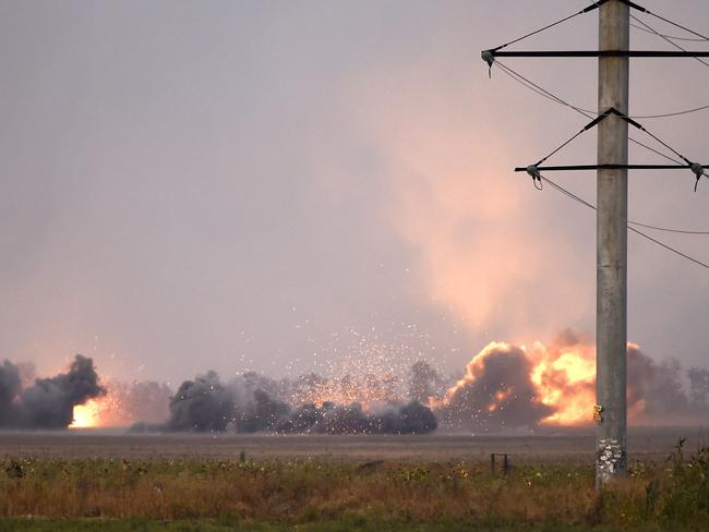 Heavy shelling ... the outskirts of Mariupol under pro-Russian separatists artillery action. Picture: Philippe Desmazes