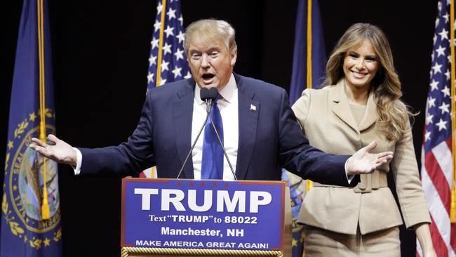 """Melania Trump says she was initially attracted to her husband because of his """"amazing mind"""". Picture: AP Photo/David Goldman."""