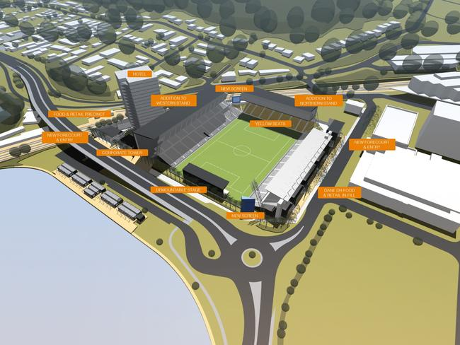 The Central Coast Mariners' $75 million Centre of Entertainment masterplan for Central Coast Stadium hopes to attract more revenue for the club while creating a vibrant and bustling sport and leisure hub for the region. Source: CKDS Architecture