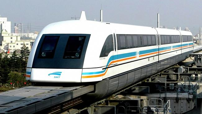 Future transport ... The Magnetically levitated Maglev railway train in Shanghai.