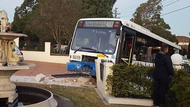 A bus crashed through a fence in Strathfield last year.