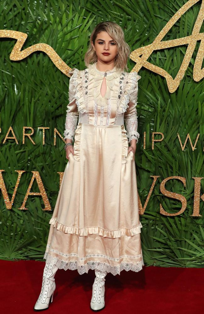 Selena Gomez poses on the red carpet at the British Fashion Awards. Picture: AFP