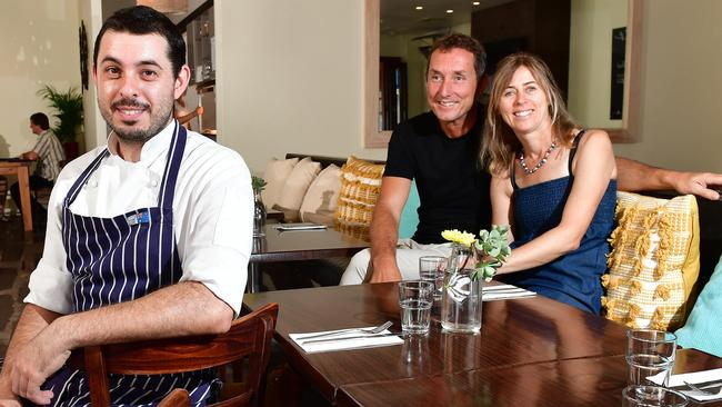 Cafe Lune chef Francesco Nardinocchi with owners Simon and Sarah Norris. Pictures: Keryn Stevens