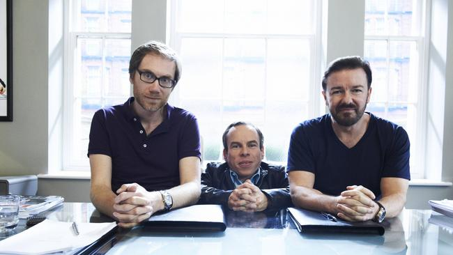 Stephen Merchant, Davis and Ricky Gervais.