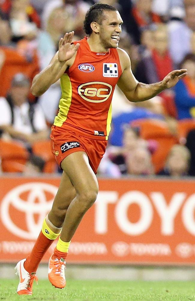 Harley Bennell celebrates one of his six goals against Geelong. Picture: Richard Gosling
