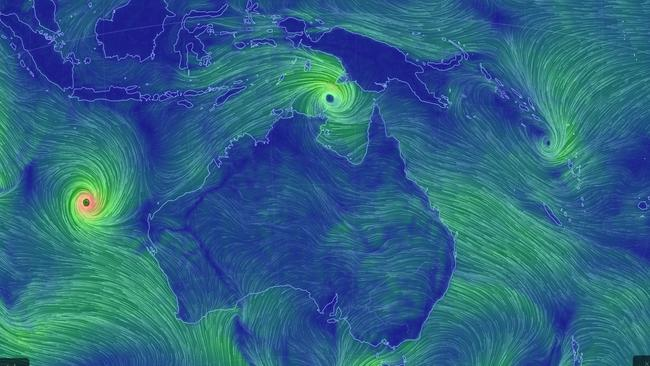 Cyclone Nora forming over Northern Australia while Cyclone Marcus is heading south parallel to the WA coast. Picture: Earth Nullschool