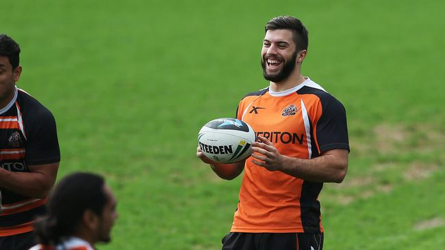 James Tedesco at training with the Wests Tigers on Thursday after backing down on his decision to join the Raiders. Pic. Phil Hillyard