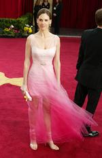 Hilary Swank looked like she stepped in a hot pink puddle as she attended the 2003 Annual Academy Awards. Picture: Getty