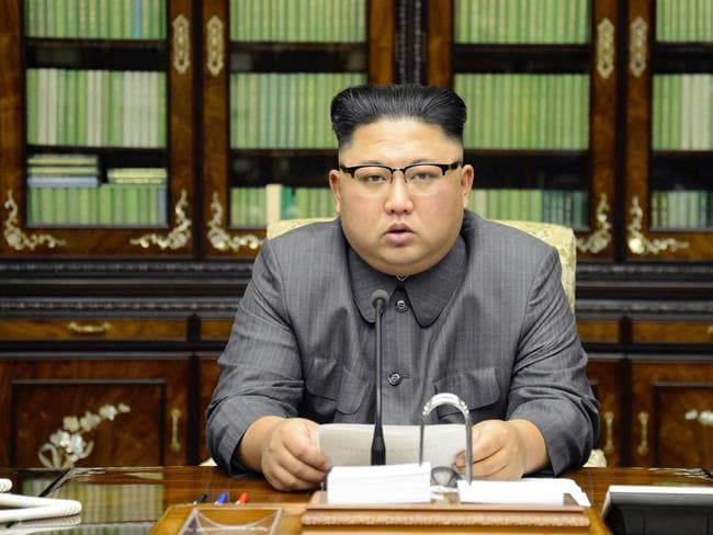 North Korean leader Kim Jong Un delivers a statement in response to U.S. President Donald Trump's speech to the United Nations. Picture: KCNA/AP