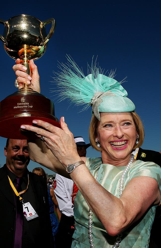 Gai Waterhouse holds the Cup after winning with Damien Oliver aboard Fiorente. Picture: Colleen Petch