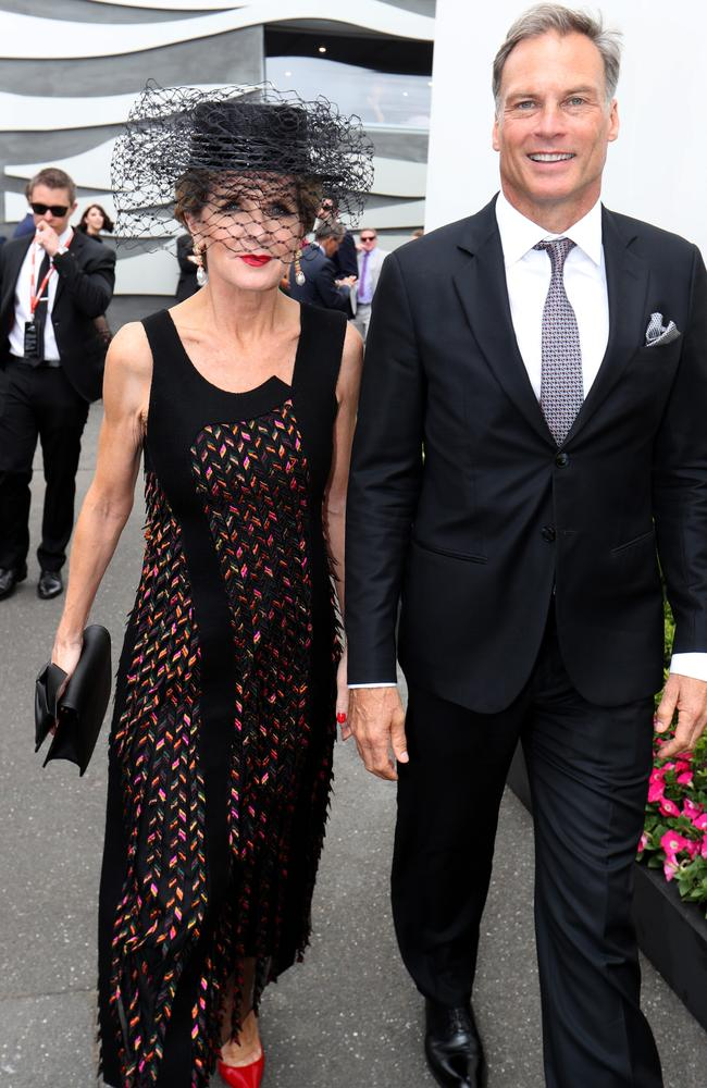 Foreign Minister Julie Bishop with David Panton in the birdcage on Melbourne Cup day last year. Picture: David Geraghty, The Australian.