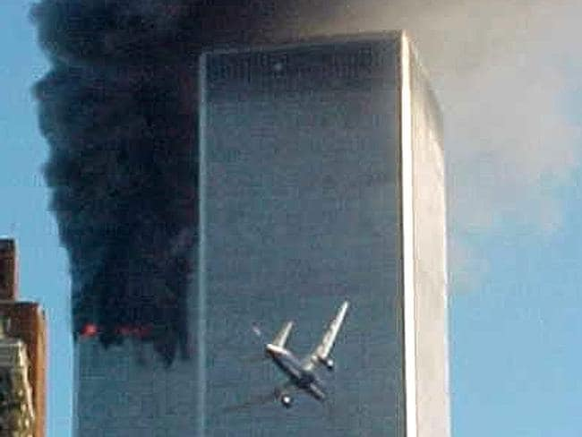 Video still of hijacked commercial aircraft about to fly into second tower of World Trade Centre.