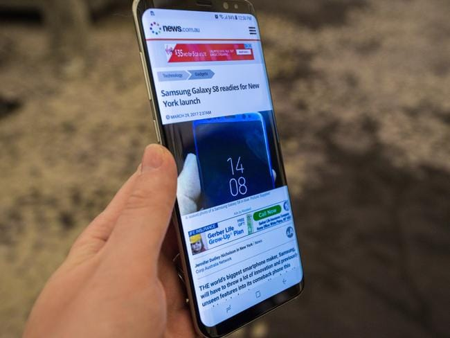 The Samsung Galaxy S8+, unveiled in New York, features a 6.2-inch screen and a new voice assistant named Bixby. Picture: Supplied