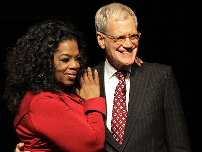David Letterman with Oprah Winfrey following an interview at Ball State University in Muncie, Indiana.