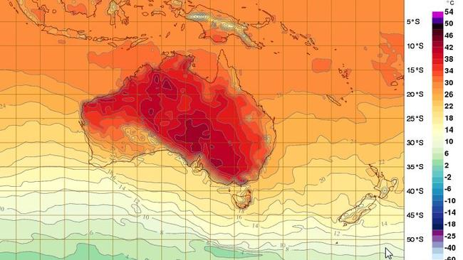 Tuesday is looking like a hot day across the country with highs of 42C in Broken Hill and Swan Hill, 37C in Adelaide and Melbourne. Parts of Sydney could reach 41C on Thursday. Picture: BoM