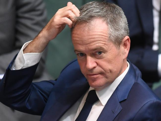 Australian Opposition Leader Bill Shorten reacts during House of Representatives Question Time at Parliament House in Canberra on Thursday. Picture: Lukas Coch/AAP