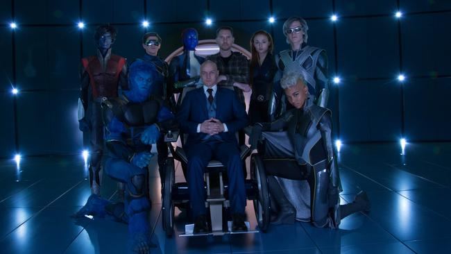 Writer, producer and director of the X-Men films, Bryan Singer (back row, third from right), with the next-gen cast of his most recent film in the universe, Apocalypse. Picture: Twentieth Century Fox.