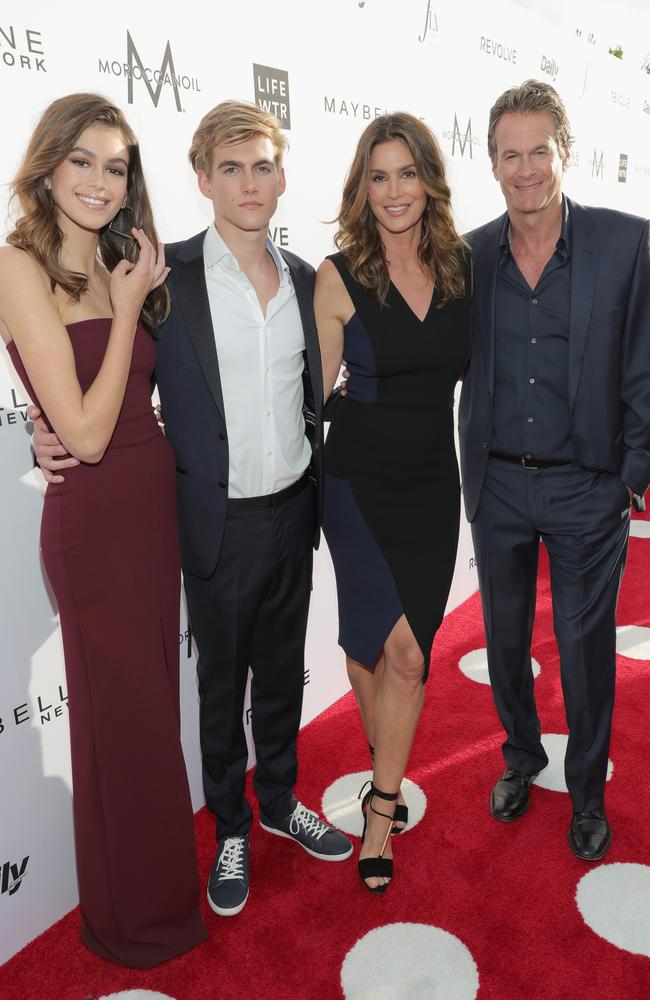 Kaia Gerber and her brother Presley Gerber, with their parents Cindy Crawford and Rande Gerber. Picture: Getty Images
