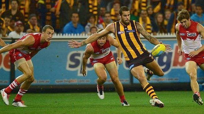 Lance Franklin about to kick a goal in the second quarter against the Swans. Picture: Wayne Ludbey