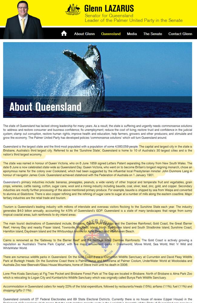 Senator Glenn Lazarus' Queensland spiel, with the passages lifted from Wikipedia highlight.