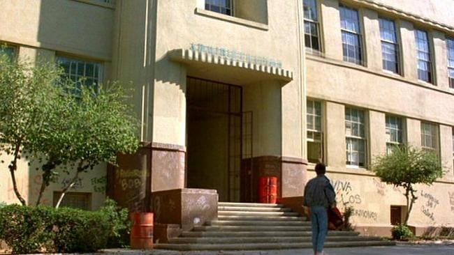 IN THE MOVIE: Hill Valley High School from Back to the Future. Picture: Imgur / Mobius01