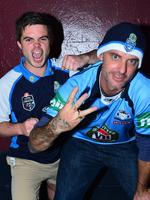 NSW fans Barry Bright and Benji Farah ahead of State of Origin III at Suncorp Stadium in Brisbane.