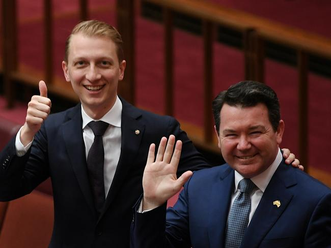 WA Liberal Senator Dean Smith (right, with James Paterson) will introduce his same-sex marriage Bill on Thursday. Picture: AAP/Lukas Coch