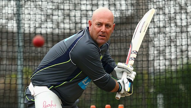 Lehmann donned the pads to lighten the mood at training earlier this week.