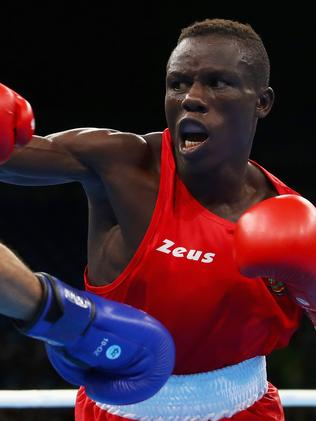 Simplice Fotsala fights at the Rio Olympics. Picture: Dean Mouhtaropoulos/Getty Images