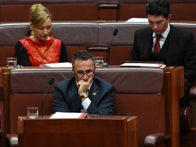 Greens leader Richard Di Natale (centre) in the Senate after a motion was moved by the Greens to suspend standing orders to debate gay marriage. Picture: AAP