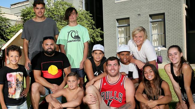 Sea Eagles player (front middle) Josh Starling with indigenous kids during their stay at Royal Far West. Picture: Troy Snook
