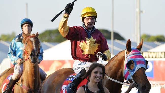 Paul Denton returns to scale aboard Saturday Sorcerer after their Darwin Cup triumph.