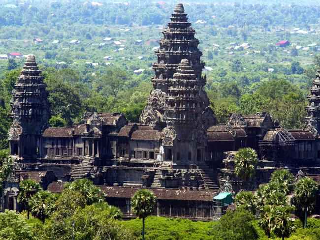 Angkor Wat temples are seen north of Siem Reap in Cambodia.