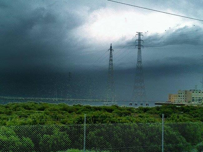Craig Element shared this ominous photo of the 'angry' storm system rolling over Port Augusta power station. Picture: Craig Element