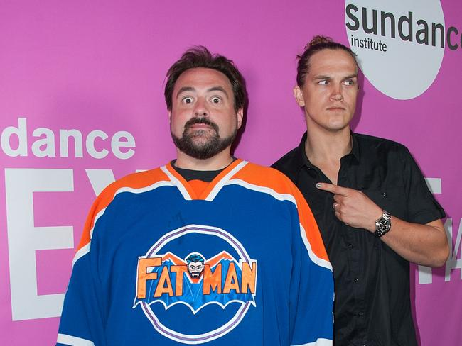 Cult heroes ... Director Kevin Smith and 'Jay and Silent Bob' actor Jason Mewes at the premiere of zombie love story Life After Beth in LA earlier this month. Picture: Getty