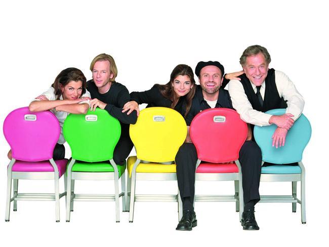 Wendie Malick, David Spade, Laura San Giacomo, Enrico Colantoni and George Segal from  <i>Just Shoot Me</i>.