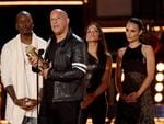 Tyrese Gibson, Vin Diesel, Michelle Rodriguez, and Jordana Brewster accept the MTV Generation Award for 'The Fast and the Furious' franchise onstage during the 2017 MTV Movie And TV Awards at The Shrine Auditorium on May 7, 2017 in Los Angeles, California. Picture: Getty